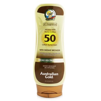 Australian Gold Lotion Sunscreen Broad Spectrum SPF 50 with Instant Bronzer