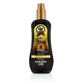 Australian Gold Spray Gel Sunscreen Broad Spectrum SPF 8 with Instant Bronzer