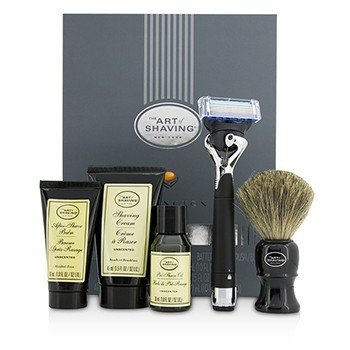 The Art Of Shaving Lexington Collection Power Shave Set: Razor + Brush + Pre Shave Oil + Shaving Cream + After Shave Balm - Without Battery