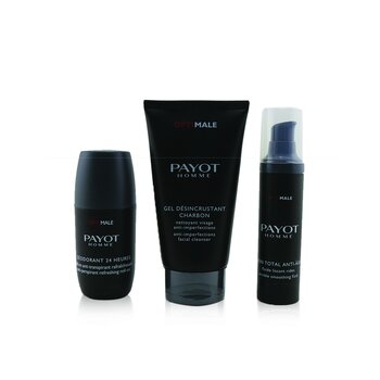 Payot Optimale Energising Ritual For Men Set : 1x Facial Cleanser 150ml + 1x Wrinkle Smoothing Fluid 50ml + 1x 24 Hrs Roll-On 75ml